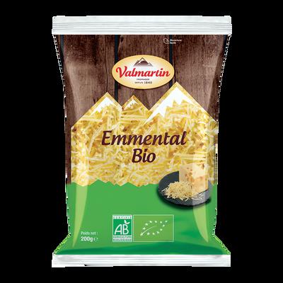 Emmental râpé bio au lait pasteurisé VALMARTIN, 29%MG, portion 200g