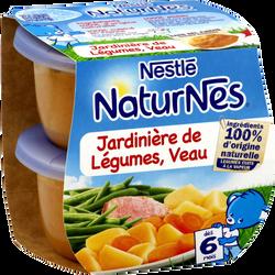 Plat pour bébé jardinière de légumes et veau NATURNES, dès 6 mois, 2x200g