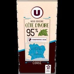 Chocolat noir côte d'Ivoire 95% cacao U, tablette de 80g