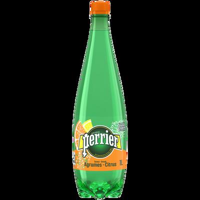 Eau minérale naturelle gazeuse aromatisée aux agrumes PERRIER, bouteille en plastique de 1l