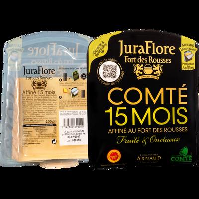 Comté AOP au lait cru affiné 15 mois 35% de matière grasse JURAFLORE,sachet de 200g