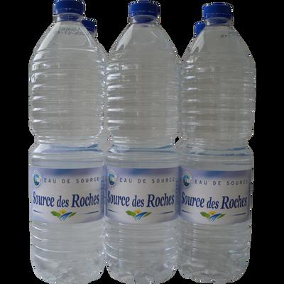 Eau de source DES ROCHES, pack de 6 bouteilles de 1,5l