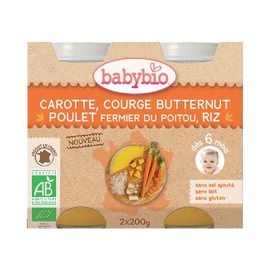 BABYBIO Carotte Courge Butternut Poulet RIZ 2x200grs