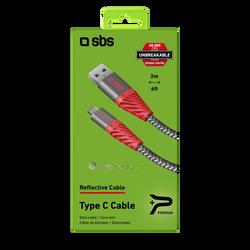 Câble SBS unbreakeable Reflective usb 2m rouge/noir