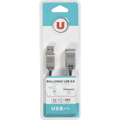 Rallonge USB 2.0 U A/A, 1,80 mètre, connecteur 1 USB 2.0 A male gris,connecteur 2 USB 2.0 A femelle gris, version USB 2.0 High Speed