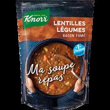 """""""Ma soupe repas"""" lentilles légumes bacon fumé KNORR, 37,5cl"""