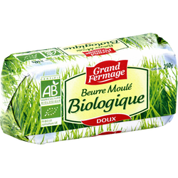 Beurre doux moulé bio 82% de matière grasse GRAND FERMAGE, 250g