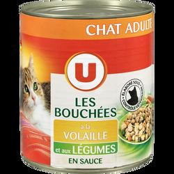 Bouchées en sauce pour chat à la volaille et légumes U, boîte de 820g