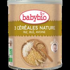 3 céréales nature riz, blé, avoine BABYBIO, 250g