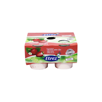 Yaourt aux fruits parfum fraise, ETREZ, 4x125g, 500g