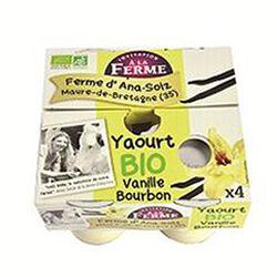 Yaourt BIO au lait frais de vaches, vanille bourbon, FERME D'ANA-SOIZ, 4 pots de 125g