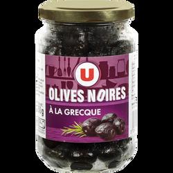Olives noires entières façon grecque U, bocal de 250g, 37cl