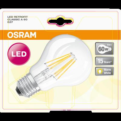 Ampoule LED prémium OSRAM, ronde, 60W E27, verre filament transparentlumière chaude