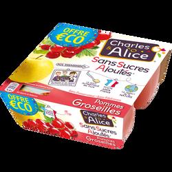 Dessert aux fruits pomme/groseille sans sucre ajouté CHARLE & ALICE, 4x97g Offre Economique