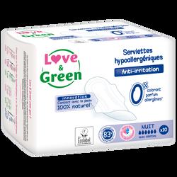 Serviettes nuit hypoallergéniques LOVE&GREEN, x10
