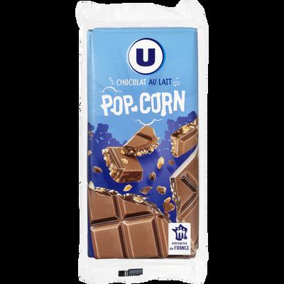 Chocolat au lait au pop corn U, 2 tablettes de 100g