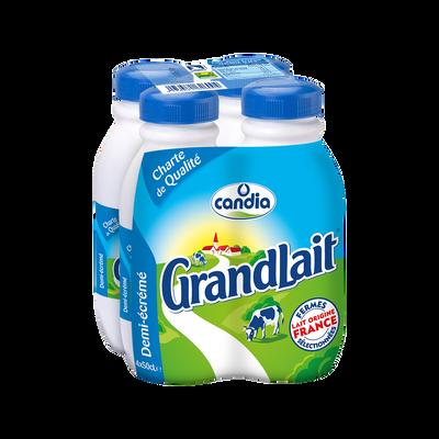 Lait UHT 1/2 écrémé GRANDLAIT, 4 bouteilles de 50cl