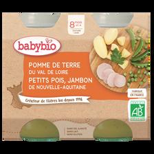 Pot pomme de terre petits pois jambon BABYBIO, dès 8 mois, 2x200g soit 400g