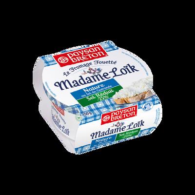 Fromage fouetté nature sel réduit -25%, au lait pasteurisé, MME LOIK,2 4% de MG, coupelle de 150g