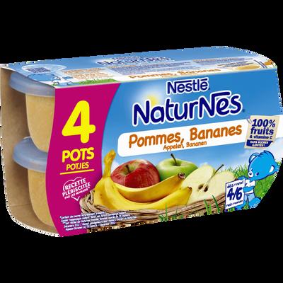 Compote pomme banane NATURNES, dès 4-6 mois, 4x130g