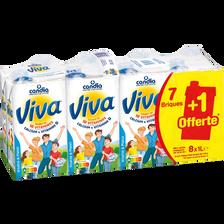 Candia Lait Uht Vitaminé Viva, 7 Briques De 1l + 1 Offert