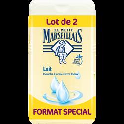 Gel douche crème extra doux au lait LE PETIT MARSEILLAIS, 2 flacons de250ml