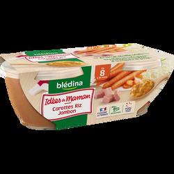 Bols pour bébé carottes, riz et jambon au persil LES IDEES DE MAMAN, dès 8 mois, 2x200g