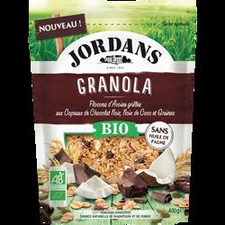 Granola flocons d'avoine chocolat noir et coco bio JORDANS, paquet de400g