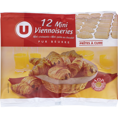 Mini vennoiseries assorties U, 12 unités, 288g