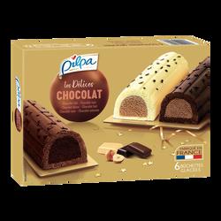 Bûchettes glacées tout chocolat PILPA, 6 unités soit 360g