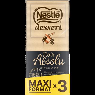 Chocolat noir absolu NESTLÉ DESSERT, 3 tablettes de 170g