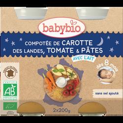 Compotée de Carotte des Landes Tomate Pâtes BABYBIO, dès 8 mois, 2x200g