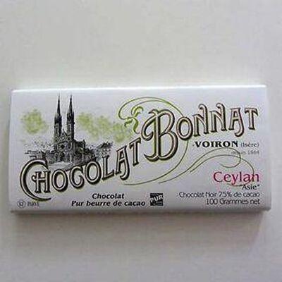 """Chocolat noir au beurre de cacao""""Ceylan"""" BONNAT,100gr"""