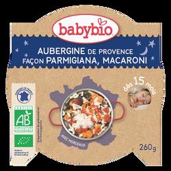Assiettes aubergines de Provence façon parmigiana & macaroni BABYBIO, dès 15 mois, 260g