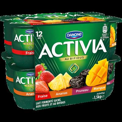 Lait fermenté sucré au bifidus aux fruits panachés ACTIVIA, 12x125g