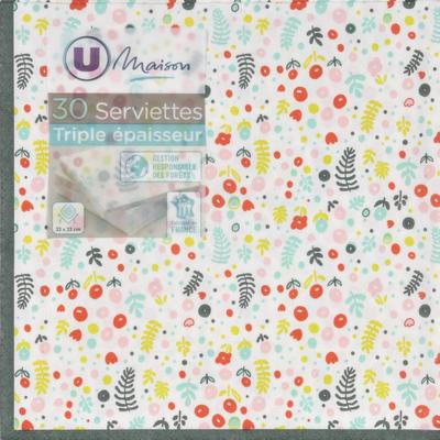 Serviettes U MAISON, 3 plis, en papier, 33x33cm, semis multicolor, 30unités