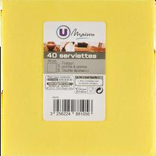 Serviettes U MAISON TEX TOUCH, 25x24cm, jaunes, 40 unités