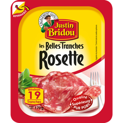Saucisson sec rosette JUSTIN BRIDOU, boite fraicheur de 19 tranches soit 170g