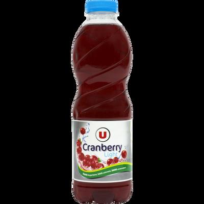Boisson cranberry light U, bouteille de 1l