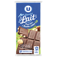 Tablette de chocolat au lait avec éclats de noisettes U, 3 unité de 100g