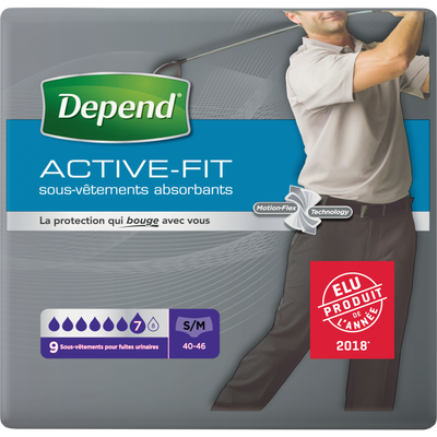 Sous-vêtements absorbant homme active fit taille S/M DEPEND, x9