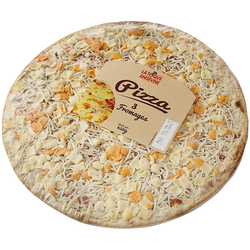 Pizza 3 fromages gouda et fromage fondu cheddar, emmental, 450g