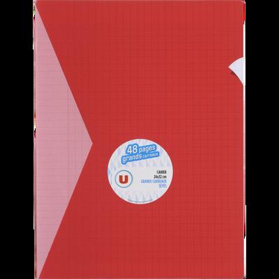 Grand cahier piqure U, grands carreaux, 24x32cm, 48 pages, rouge