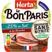 Herta Jambon Le Bon Paris -25% De Sel Broche Conservation Sans Nitrite Herta4 Tranches 140g