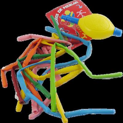 Ballons à modeler, 10 unités, coloris assortis, avec pompe