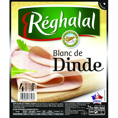 Blanc de dinde halal 4 tranches REGHALAL, 160g