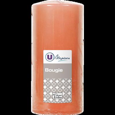 Bougie U MAISON, non parfumée, 68x145mm, corail