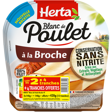 Herta Blanc Poulet Broche Conservation Sans Nitrite Herta 4 Tranches X2+1 Offert 420g