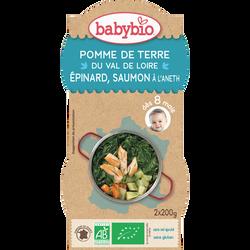 Bol pomme de terre du Val de Loire, épinard, saumon BABYBIO, dès 8 mois, 2x200g