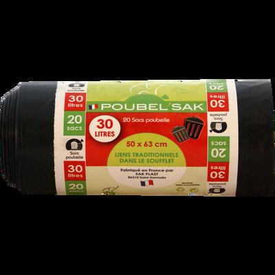 Sacs poubelles noir, SAK-PLAST, 20x30L